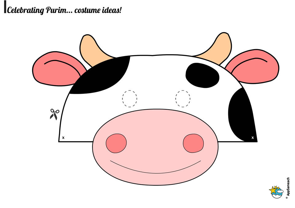 Transformative image within free printable cow mask