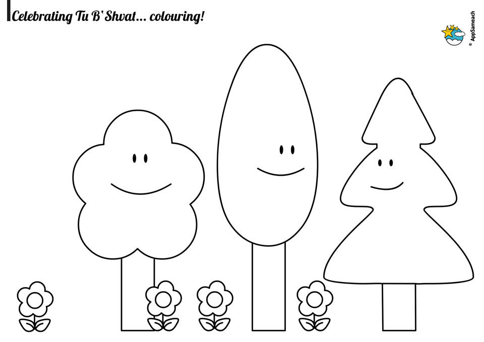 Tu B\'Shvat Coloring Sheet - Jewish Traditions for Kids | AppSameach